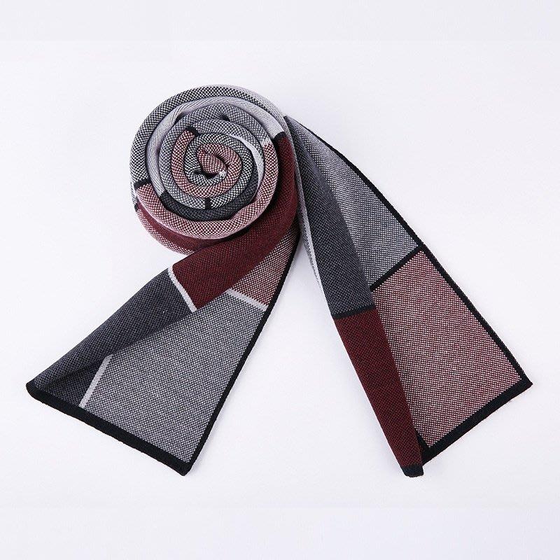 圍巾 針織披肩-時尚方格羊毛優雅男配件5色73wi32[獨家進口][米蘭精品]