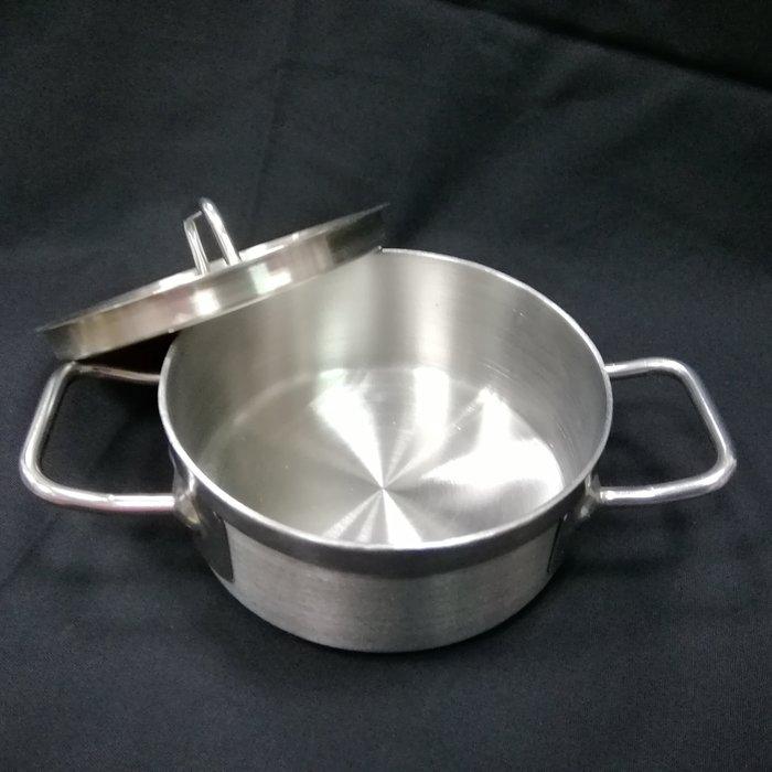 一鑫餐具【12*5公分複底醬汁鍋】滷桶湯桶滷鍋湯鍋燉鍋深鍋白鐵鍋不銹鋼鍋高鍋