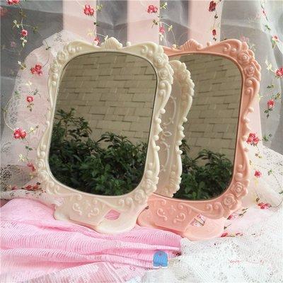 安娜蘇風格玫瑰薔薇桌面便攜化妝鏡鏡子兩色YSY