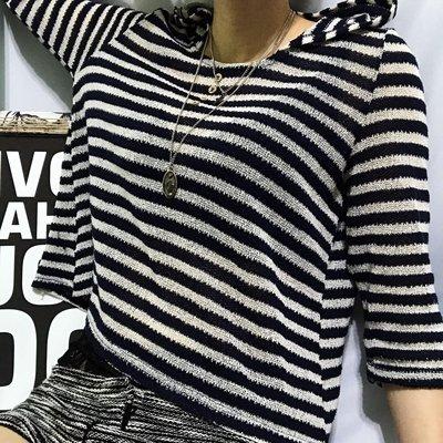 澳洲品牌valley girl藍色白色薄料彈性針織橫條條紋七分袖連帽帽t日系風格zara forever21 h&m