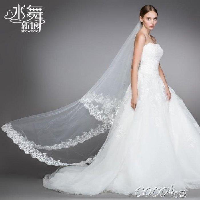 頭紗 新娘婚紗頭紗新款韓式蕾絲花邊3米超長拖尾軟紗結婚R0083