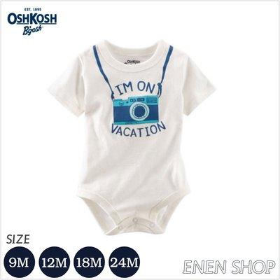 『Enen Shop』@OshKosh Bgosh 照相機趣味圖短袖包屁衣 #423B925|9M/18M