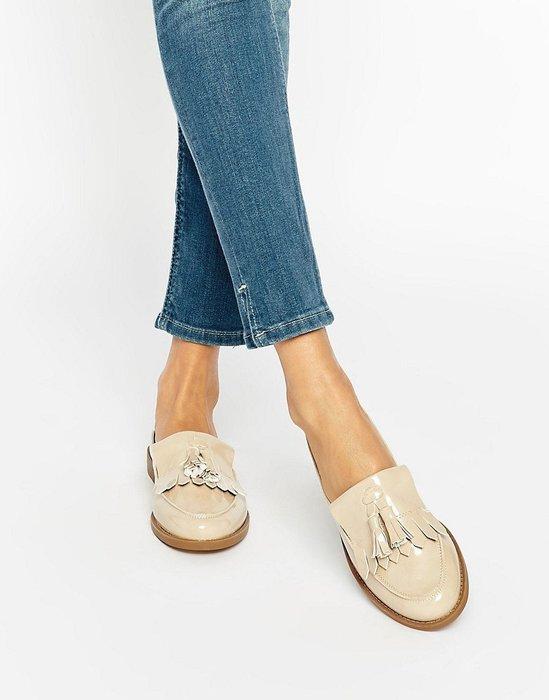 ◎美國代買◎ASOS代買流蘇穿式鞋面英倫學院風假皮鞋款漆皮流蘇平底拖鞋~歐美街風~大尺碼~
