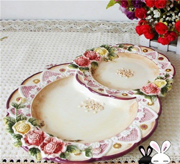 粉紅玫瑰精品屋~歐式維多利亞玫瑰花陶瓷果盤~