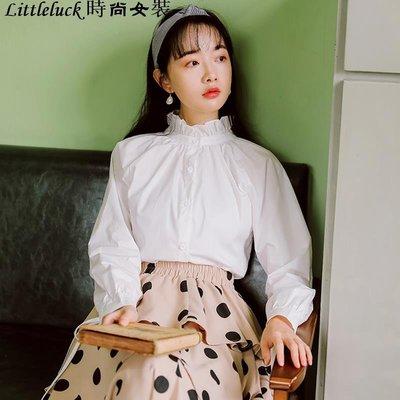Littleluck~女裝很仙的學院風上衣洋氣長袖襯衫女春秋2019新款學生立領仙女范襯衣