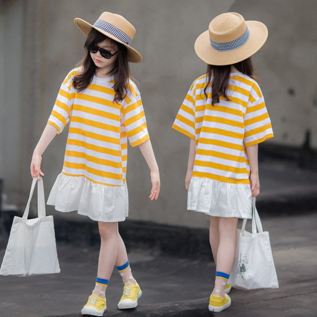 iKIDS♬2019夏季 新款 韓版 女童 童裝 中童 大童 拼接款 黃色條紋 寬鬆 短袖 洋裝 親子裝(預購) PO