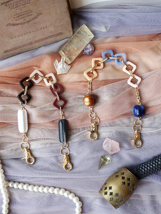 淘淘樂-原創絕美時髦小物包包配件手提帶復古羅馬亞克力樹脂肩帶法式包鏈