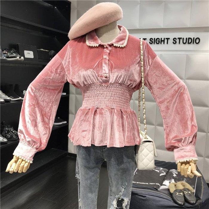 薄外套 外套 衛衣 開衫外套 毛衣新款秋季甜美珍珠點綴翻領長袖收腰顯瘦荷葉邊下擺絲絨上衣女