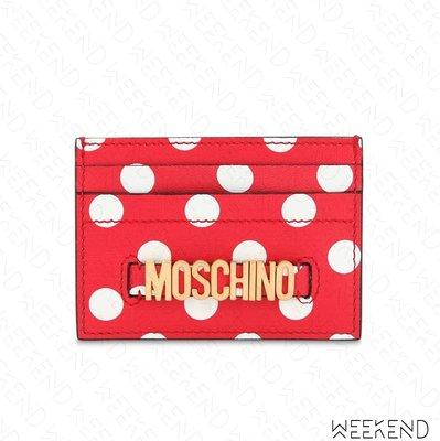 【WEEKEND】 MOSCHINO Logo Polka Dot 點點 卡夾 紅色 19春夏