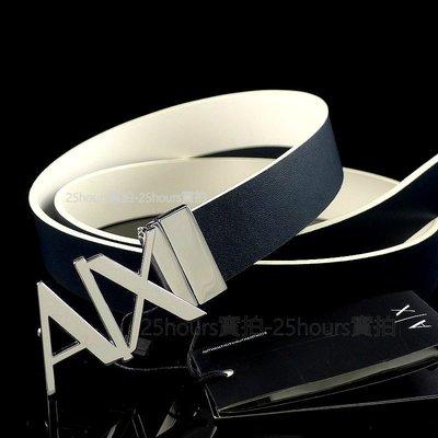 A/X專櫃正品◎全新AX專櫃購入正品Armani Exchange可翻轉雙面真皮雙色休閒百搭紳士皮帶 ◎