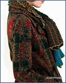 喬瑟芬【CATHERINE ANDRE'】特價$7500~2010'秋冬經典款多彩皺摺拼織圍巾~全新真品!