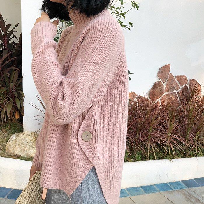 韓設計款ω 高領 長袖⌒寬鬆 ⌒下擺特殊開岔舒適毛衣 『 SL0003』