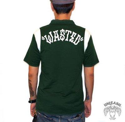 "【AXE】UNLEASH-""WASTED"" POLO衫[綠] 西岸潮流街頭刺青SOCAL搖滾短T 重機 短袖"