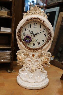 ( 台中 可愛小舖 )英式鄉村風米白復古玫瑰雕花金邊桌鐘時鐘雕花鐘古典鐘擺飾桌飾餐廳工作室居家臥室客廳