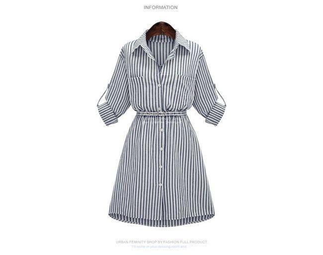 現貨     大碼女孩☆條紋長襯衫裙
