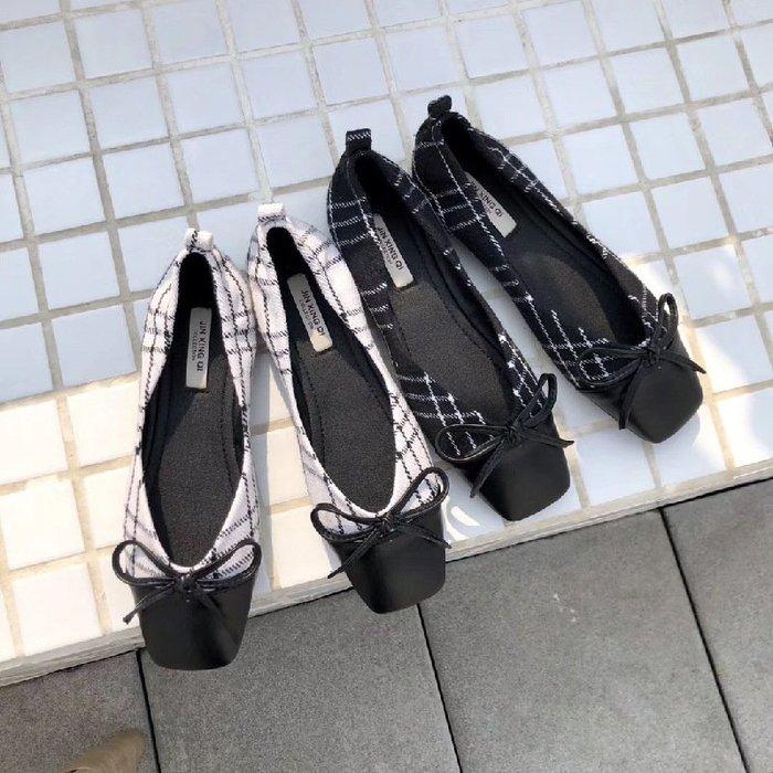 拼色小香風 蝴蝶結格子布拼接方頭軟底單鞋女淺口百搭舒適工作鞋