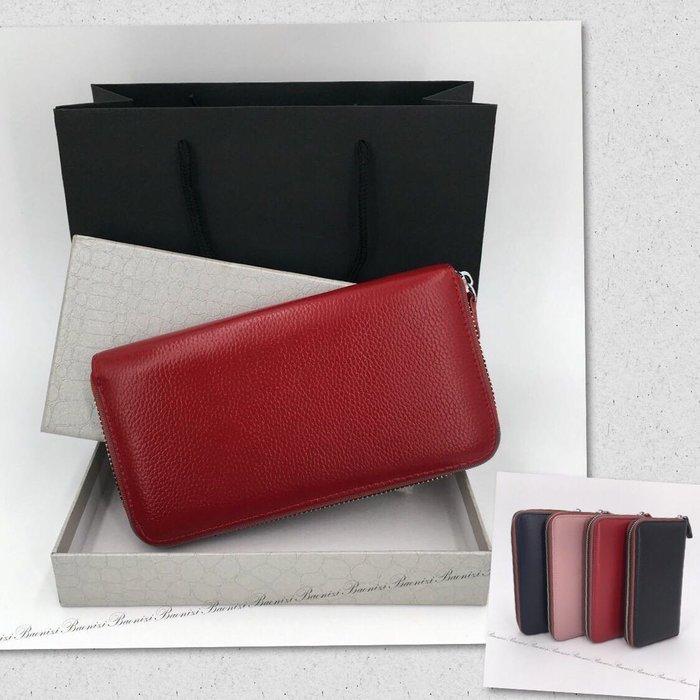 《現貨》時尚純色真皮皮夾 荔枝紋皮夾 長款錢包 生日禮物 送女朋友 媽媽 聖誕節禮物 Baonizi PL-A066