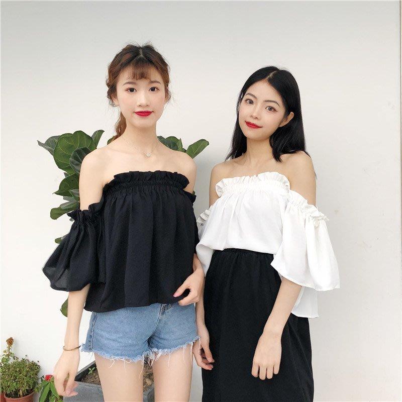 夏装韩国荷叶边一字领露肩性感喇叭袖半袖T恤学生上衣港味女装潮