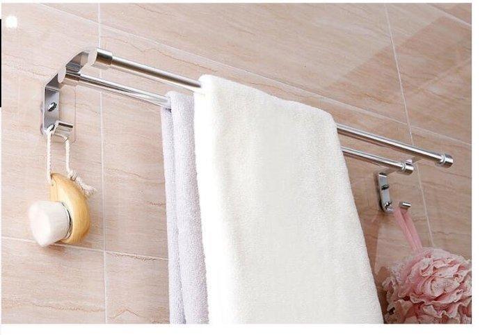 誠信家具 免打孔吸盤毛巾架衛生間浴巾架浴室雙桿毛巾桿掛毛巾架壁掛