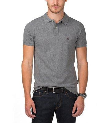 美國百分百【全新真品】Tommy Hilfiger TH 短袖 POLO衫 上衣 Logo 素面 灰色 B101