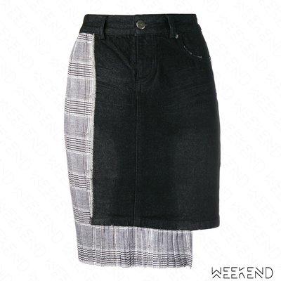 【WEEKEND】 EACH X OTHER 異材質 拼接 格紋 牛仔 短裙 窄裙 黑色 18秋冬