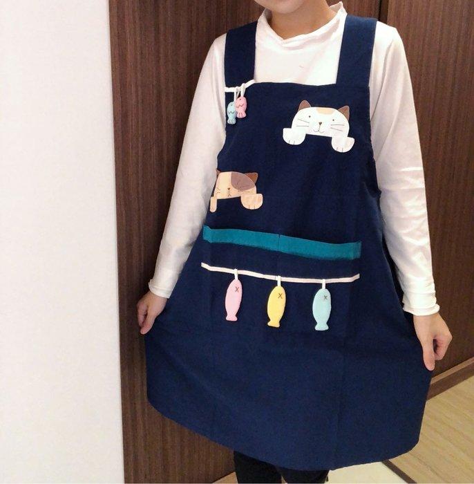 日本卡拉貓~二貓小魚圍裙 工作服