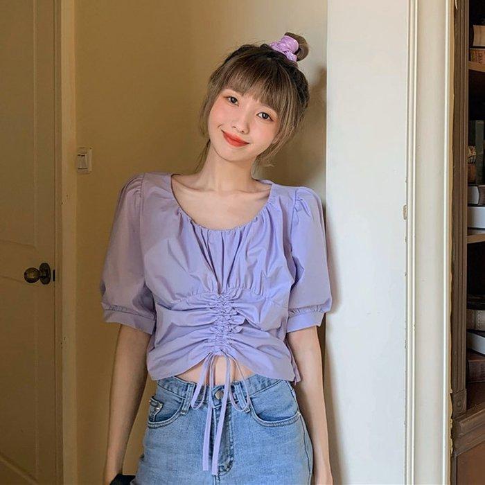 小香風 短袖T恤 時尚穿搭 設計感抽繩褶皺圓領鎖骨修身短款露臍短袖襯衫上衣女