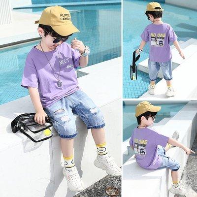 hello小店-童裝男童夏裝紫色短袖套裝中童小男孩洋氣韓版時尚帥氣兩件套潮衣#兒童上衣#襯衫#短袖t恤#