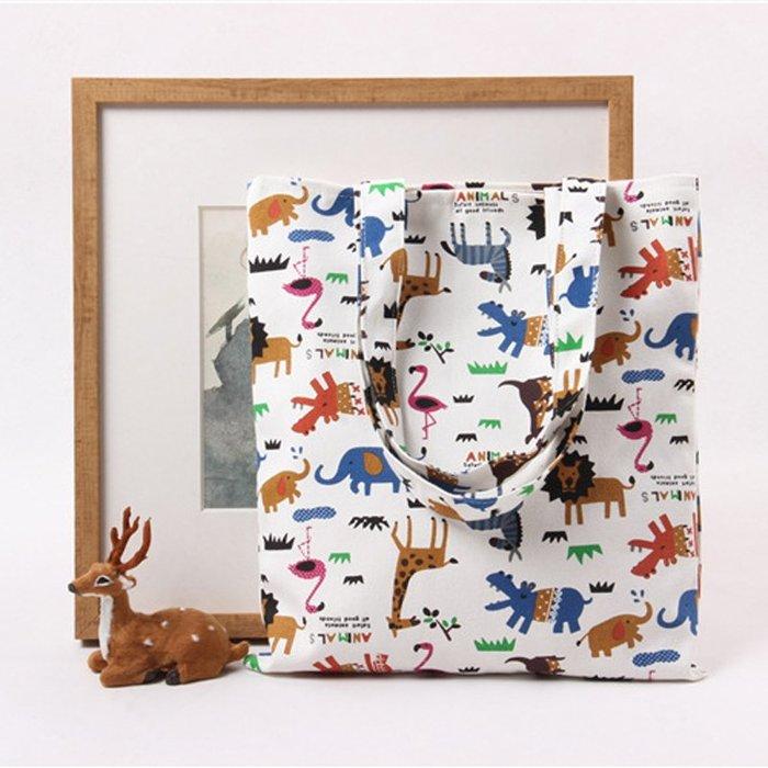 帆布包 ❉︵ 可愛動物印花提袋單肩帆布包 購物袋 ︵❉ 。Let's Go lulu's。CZ05