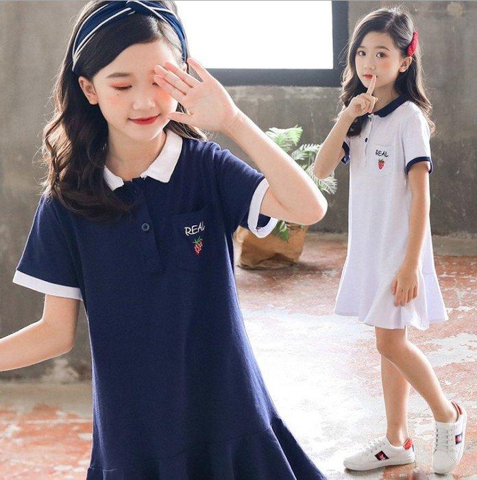 日韓歐美♥韓版甜美女童夏日連身裙 甜美POLO衫款學院風 連衣裙【Q032】