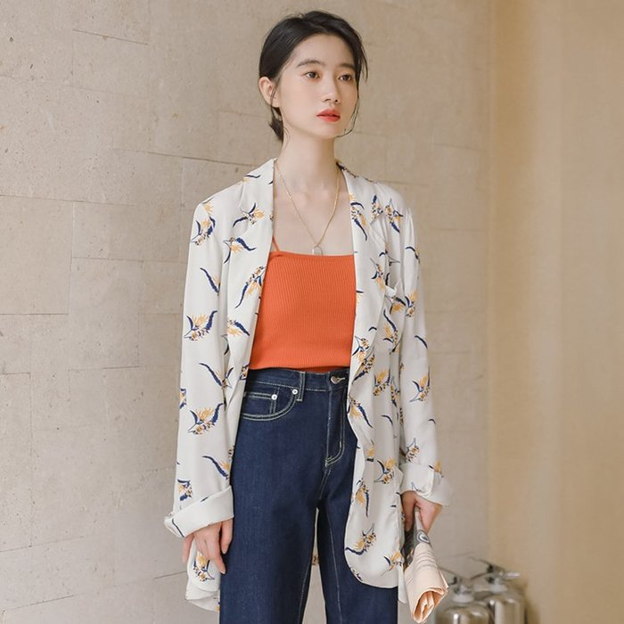 SeyeS 早秋! 古著韓系時尚薄款防曬冷氣房印花長版薄款西裝外套