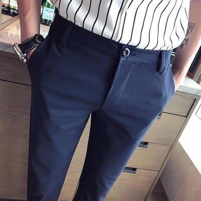 [免運]九分褲夏季男褲子小腳褲潮休閒褲男士西褲韓版修身型9分青年中褲—印象良品