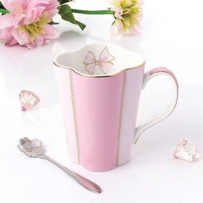 日式陶瓷水杯配勺簡約咖啡杯歐式骨瓷馬克杯純色下午紅茶杯子奶杯