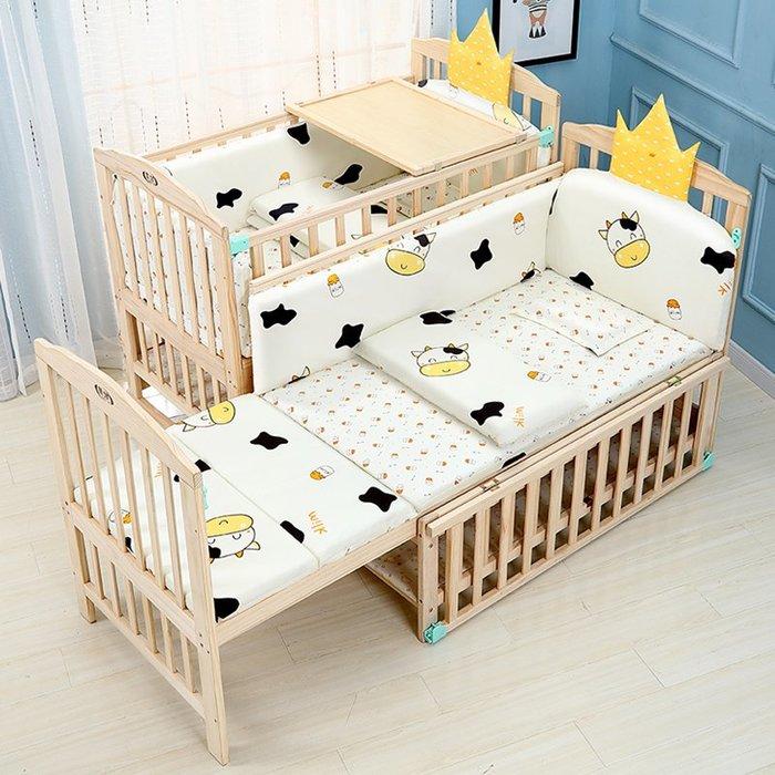 嬰兒床全實木加厚嬰兒床多功能可移動搖籃寶寶床新生兒bb床兒童拼接大床