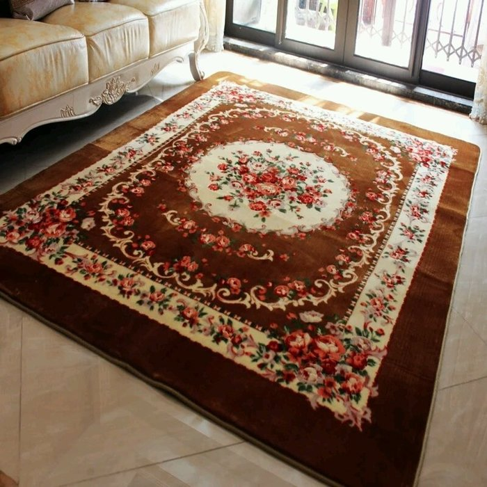 粉紅玫瑰精品屋~高檔歐式手工雕花復古客廳地毯 臥室地毯~棕色