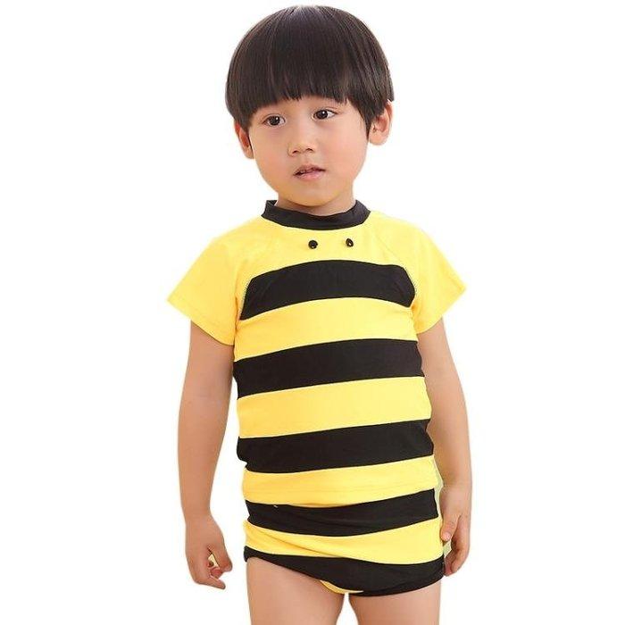 兒童泳衣男童泳褲套裝男孩分體中大童大蜜蜂游泳衣寶寶1-3-5-7歲 js1178