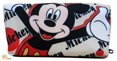 Disney 迪士尼 米奇 帆布化妝包 ♥ 米老鼠 米妮 維尼 維尼熊 史迪奇 帆布 化妝 筆袋 收納 萬用包【飽飽鋪】 台北市