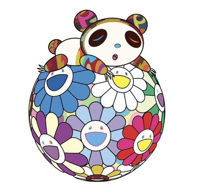 村上隆 Atop a Ball of Flowers, a Panda Cub Sleeps Soundly 版畫