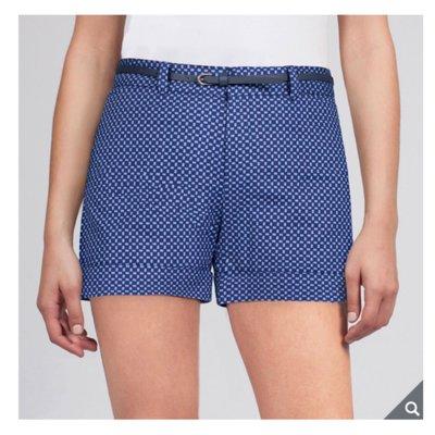 正品 BC Clothing 女附腰帶休閒短褲 (附腰帶)-藍色菱格