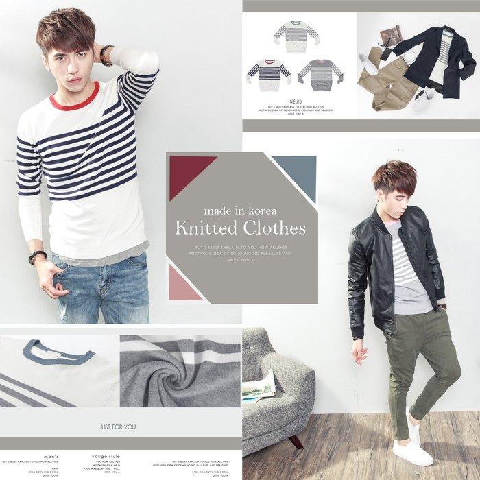 。SW。【K11328】正韓 韓國製 修身顯瘦 細緻觸感佳 質感彈性輕針織 橫條 3色拼色領 圓領針織衫毛衣長T 雅痞