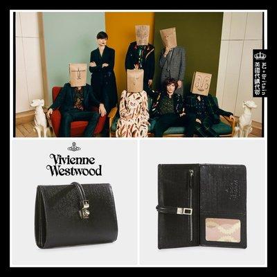 ♔MissyJ英國代購♥ Vivienne Westwood 英倫龐克教母方形銀轉扣黑色防刮傷全牛皮革真皮夾錢包女用中夾