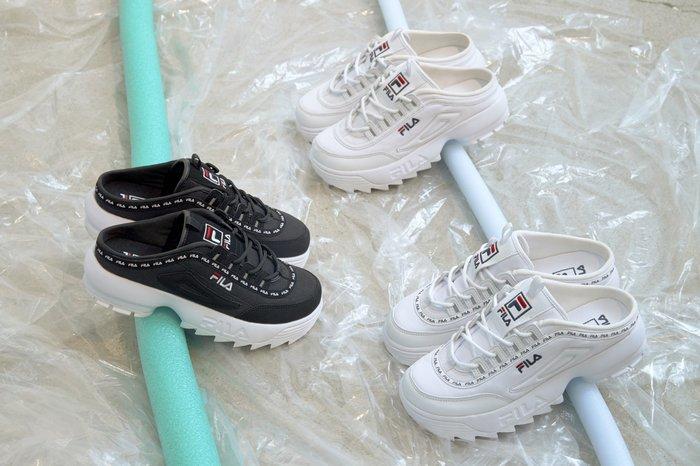 【Luxury】Fila 鋸齒半截式懶人拖鞋 厚底懶人拖鞋 破壞者2 滾邊LOGO 黑白 女鞋 韓國代購 正品 鋸齒鞋