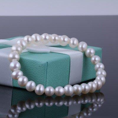 珍珠 手 鍊 手環-6.5-7.5mm白色百搭情人節母親節禮物女飾品73qn49[獨家進口][巴黎精品]