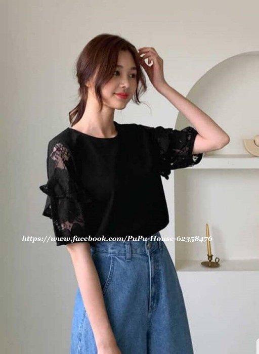 韓KOREA甜美荷葉蕾絲袖薄棉T*《黑色現貨》