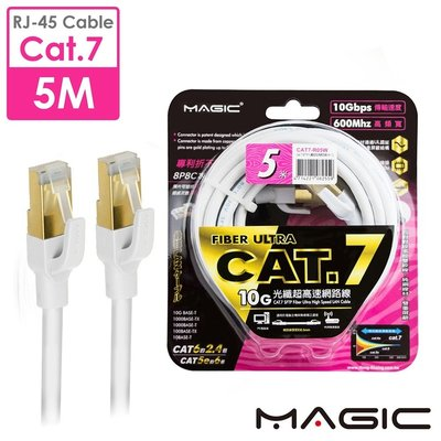 ☆YoYo 3C☆MAGIC Cat.7 SFTP圓線 26AWG光纖超高速網路線(專利折不斷接頭)5M
