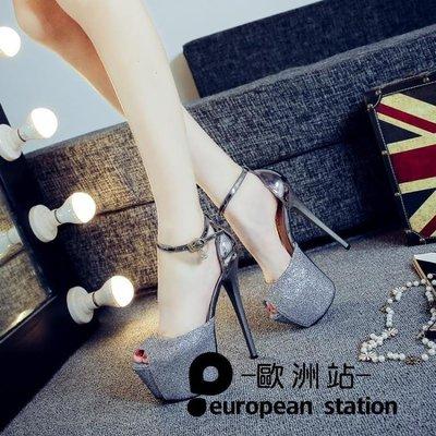 涼鞋/12cm超高跟鞋細跟魚口女恨高16cm 【愛購時尚館】
