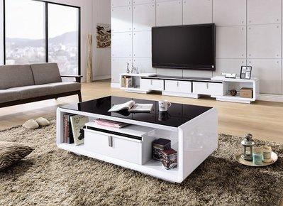 ~維基白色8.3~9.6尺伸縮電視櫃/大茶几特價組合18155A355-01A~巧匠家具批發廣場~