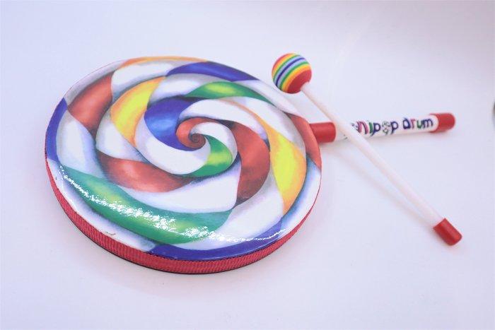 【老羊樂器店】棒棒糖鼓 含鼓棒 Lollipop Drum  8吋 兒童樂器玩具