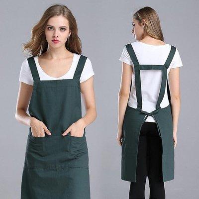 日和生活館 圍裙韓版時尚工作服純棉廚房圍裙圍腰美甲廣告圍裙印LOGO印字S686
