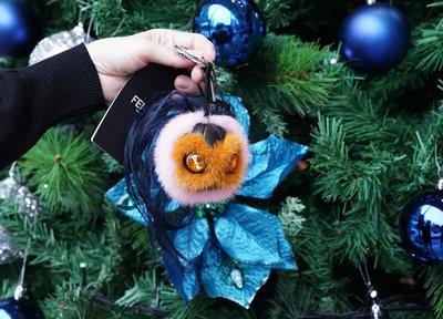 Fendi 7AR466 Mini Beak Mohawk Fur Monster 小型貂毛鳥頭吊飾 橘/粉紅 現貨
